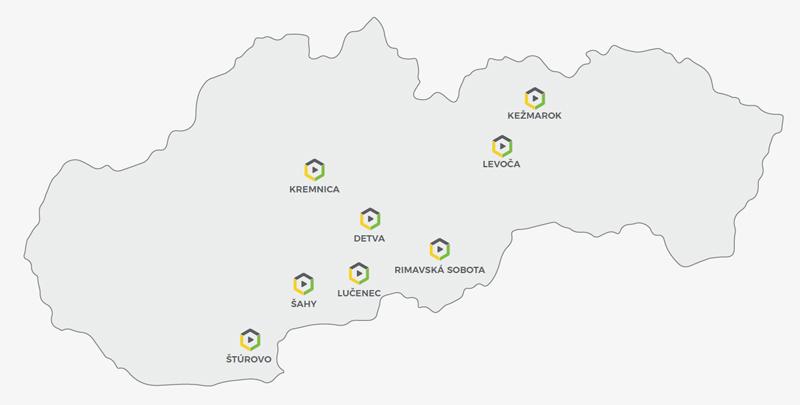 mapa pokrytia služieb TeatrO na Slovensku Rimavská Sobota Lučenec Detva Kremnica Levoča Kežmarok Šahy Štúrovo